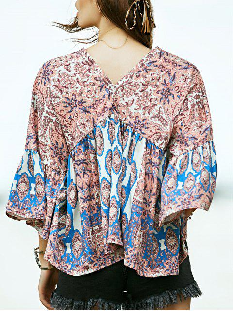 ladies Loose Printed Plunging Neck Flare Sleeve Blouse - KHAKI S Mobile