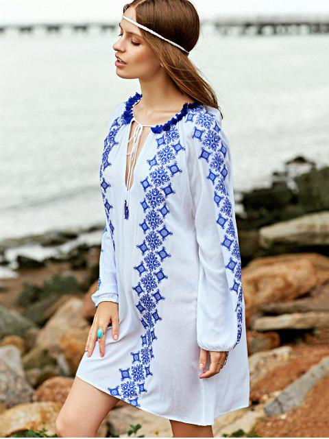 outfits Embroidery Round Neck Long Sleeve Dress - WHITE L Mobile