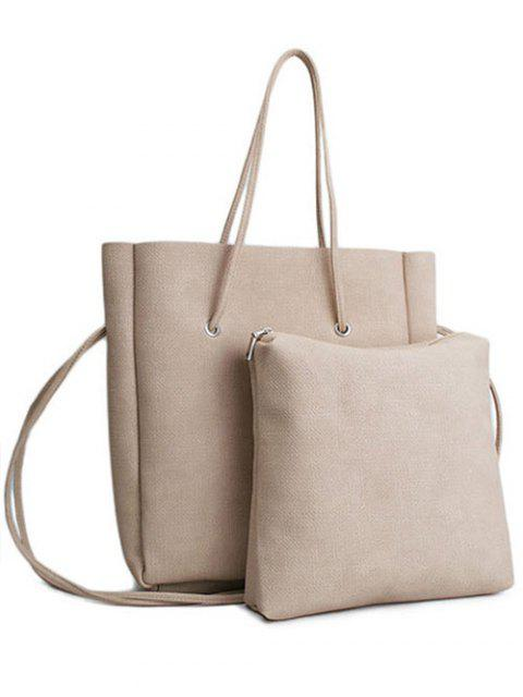 trendy Solid Color PU Leather Shoulder Bag - APRICOT  Mobile