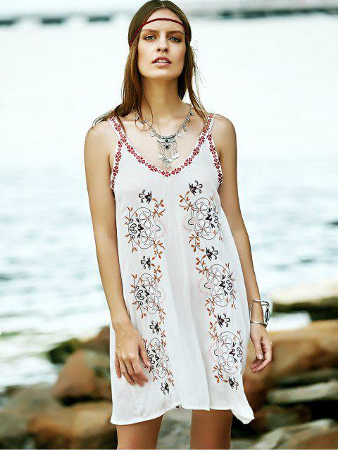 chic Embroidered Strap Dress - WHITE M Mobile