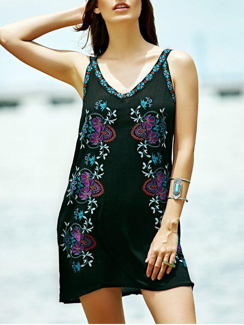 affordable Embroidered Strap Dress - BLACK S Mobile