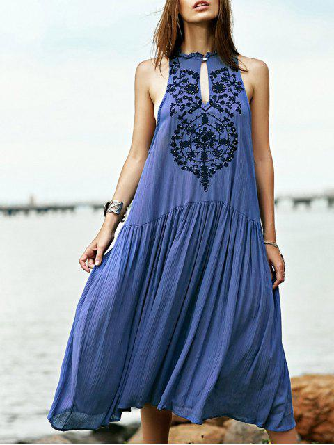 shop Embroidered Beaded Bohemian Dress - BLUE M Mobile