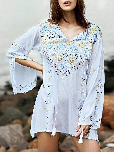 sale Embroidered Check Blouse - WHITE M Mobile