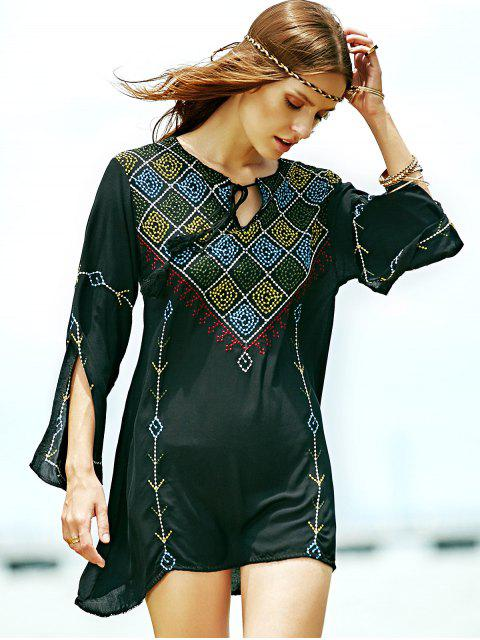 womens Embroidered Check Blouse - BLACK M Mobile