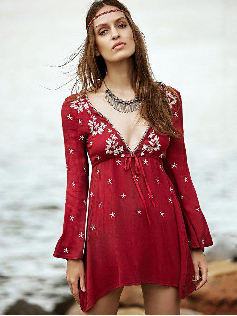trendy Low Cut Embroidered Tunic Dress - WINE RED M Mobile