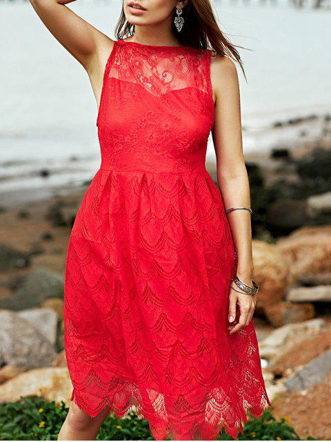 affordable Full Lace Round Neck Sleeveless Flare Dress - RED S Mobile