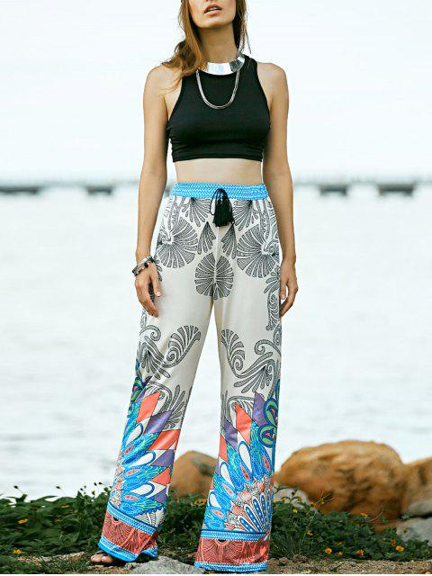 fashion Black Round Neck Tank Top and Printed High Waist Pants - BLACK M Mobile
