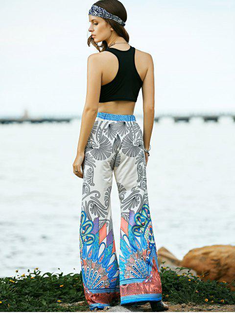 fashion Black Round Neck Tank Top and Printed High Waist Pants - BLACK M Mobile