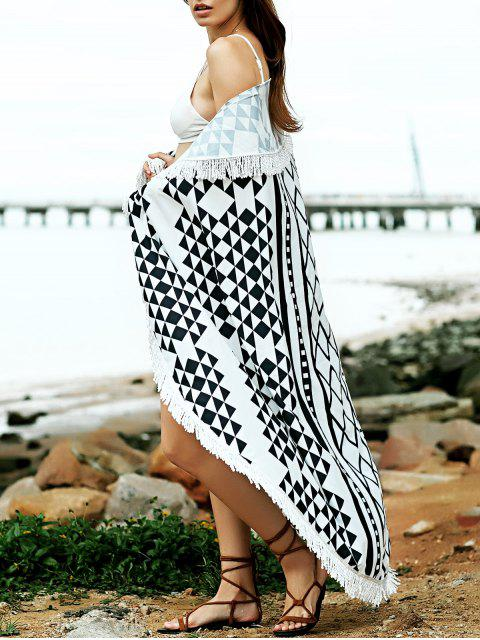 chic Convertible Geometric Print Round Shape Cape Cover Up - BLACK ONE SIZE(FIT SIZE XS TO M) Mobile