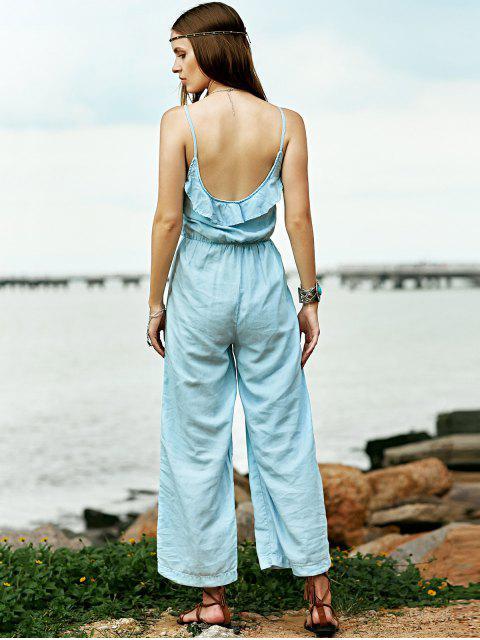 hot Ruffles Cami Light Blue Denim Jumpsuit - LIGHT BLUE M Mobile