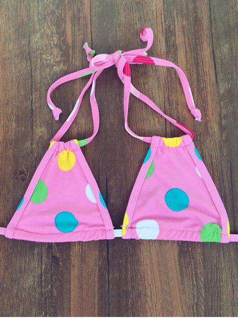 fashion Polka Dot Halter Bandage Bikini Set - PINK S Mobile
