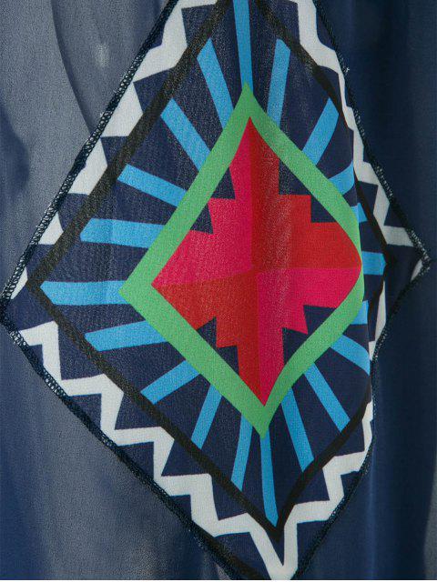 shop Floral Print Color Block Sleeveless Maxi Dress - PURPLISH BLUE S Mobile
