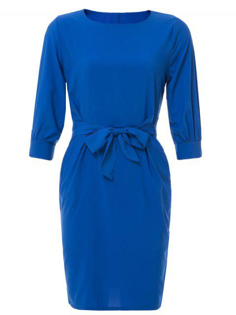hot Boat Neck Sheath Dress With Belt - SAPPHIRE BLUE L Mobile