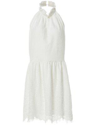 Halter Neck Solid Color Backless Lace Dress - White L