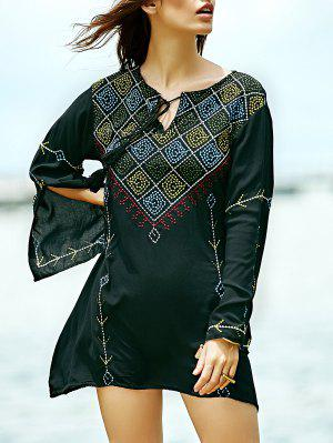 Embroidered Check Blouse - Black M