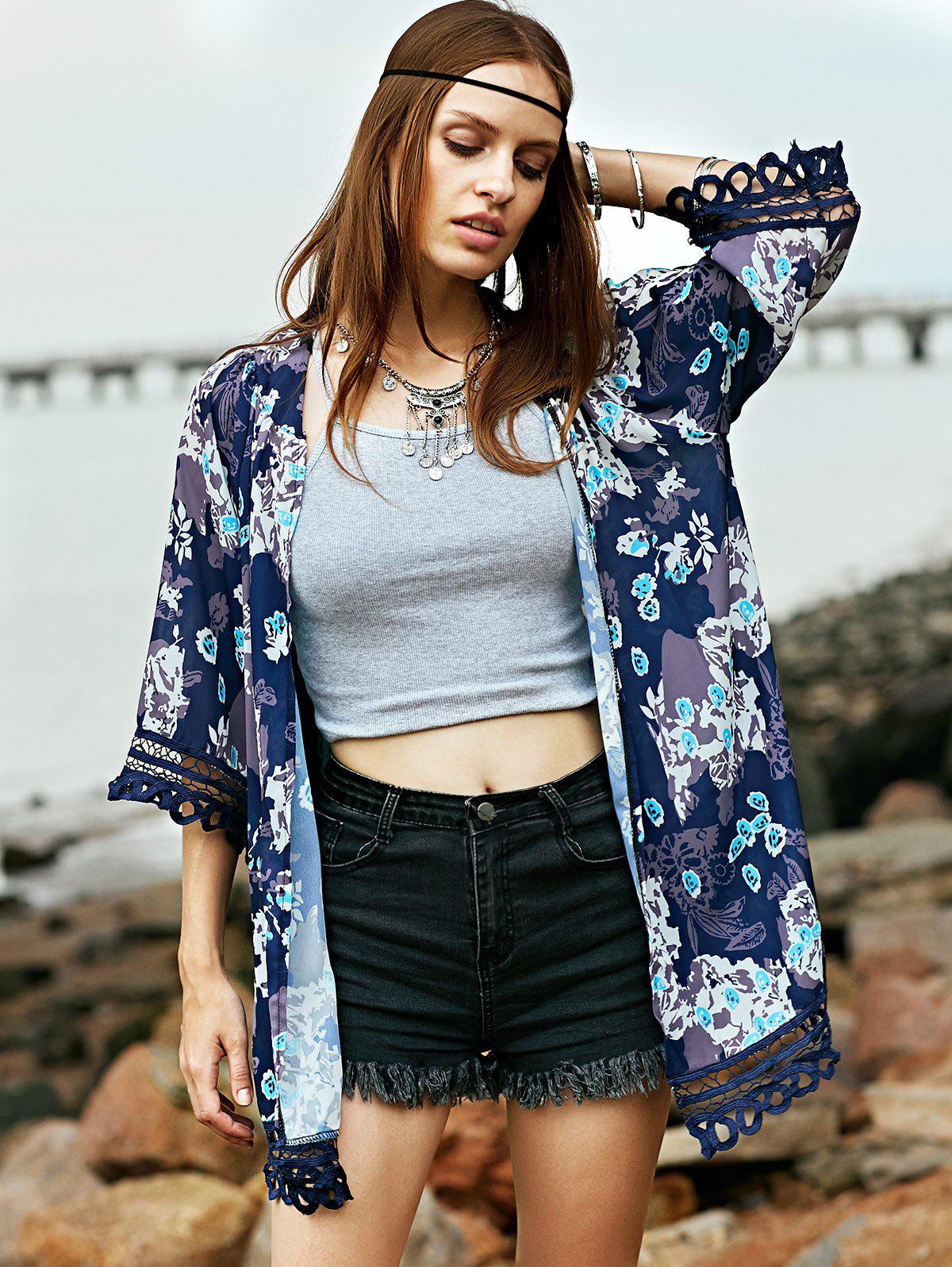 Lace Trim Printed Kimono Blouse