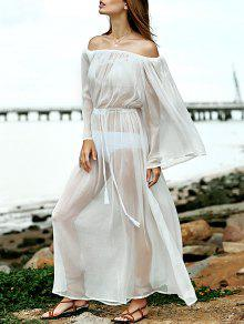 Waisted Off The Shoulder Cover Up Robe - Blanc M