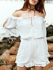 Off The Shoulder White Long Sleeve Chiffon Romper - White L