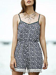 Lace Splice Cami Stripe Romper - M