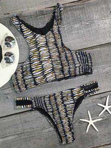 Impreso De Alta Del Cuello De La Gasa De Empalmado Set Bikini - M