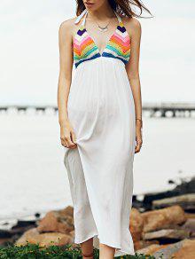 Striped Spaghetti Straps Crocheted Dress - White