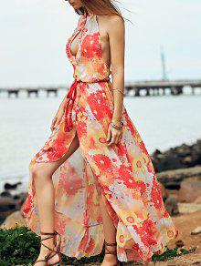 Printed Backless Stand Neck Long Dress - Yellow Xl