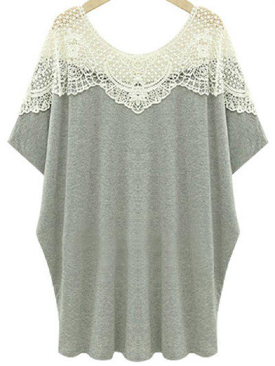 Recortable encaje empalmado cuello redondo manga corta de la camiseta - Gris Claro 4XL