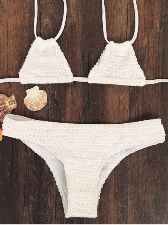 online Solid Color Halter Neck Bikini Set - OFF-WHITE M