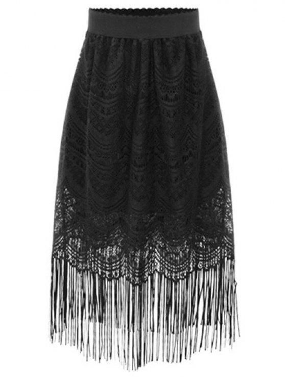 lady Black Fringe High Waist A-Line Lace Skirt - BLACK 3XL