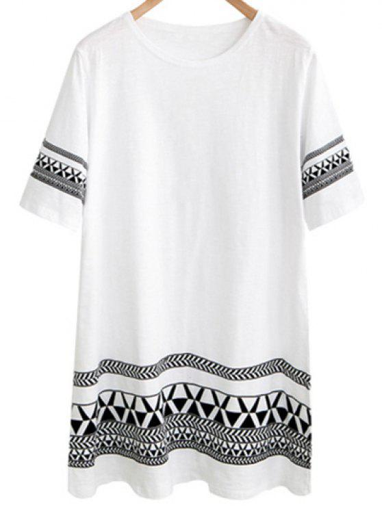 hot Loose Geometric Print Round Neck Short Sleeve Dress - WHITE 5XL