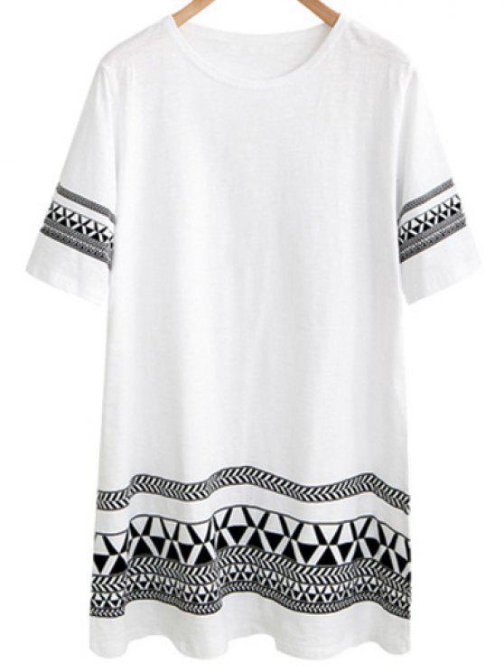 Lâche imprimé géométrique robe col rond manches courtes - Blanc 2XL