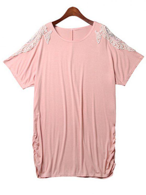 shop Loose Lace Spliced Round Neck Bat-Wing Sleeve Dress - PINK 4XL