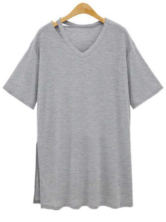 trendy Loose Side Slit V Neck Short Sleeve T-Shirt - GRAY 3XL