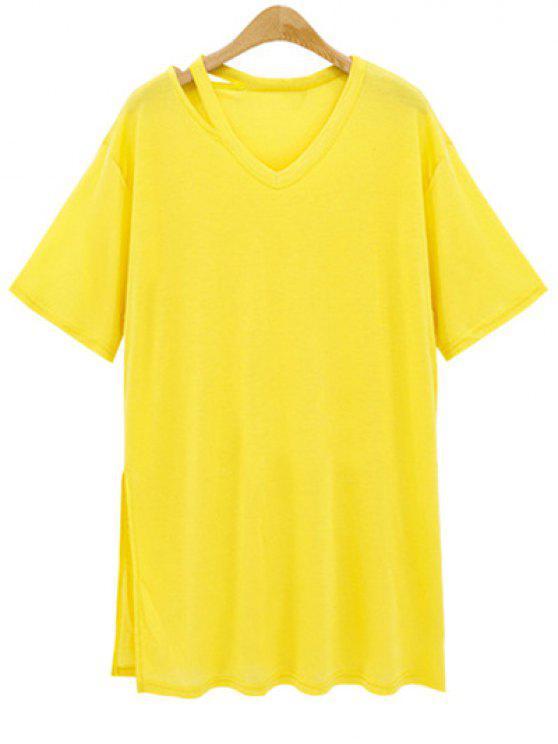best Loose Side Slit V Neck Short Sleeve T-Shirt - YELLOW L
