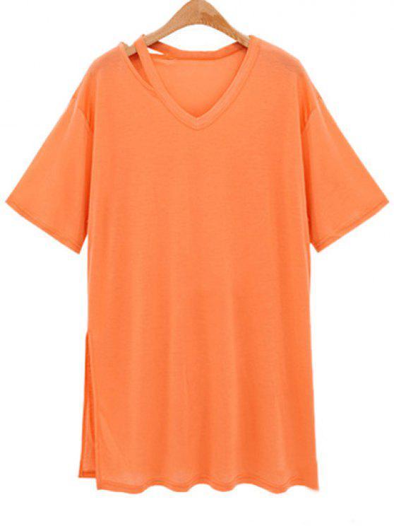 hot Loose Side Slit V Neck Short Sleeve T-Shirt - ORANGEPINK 2XL