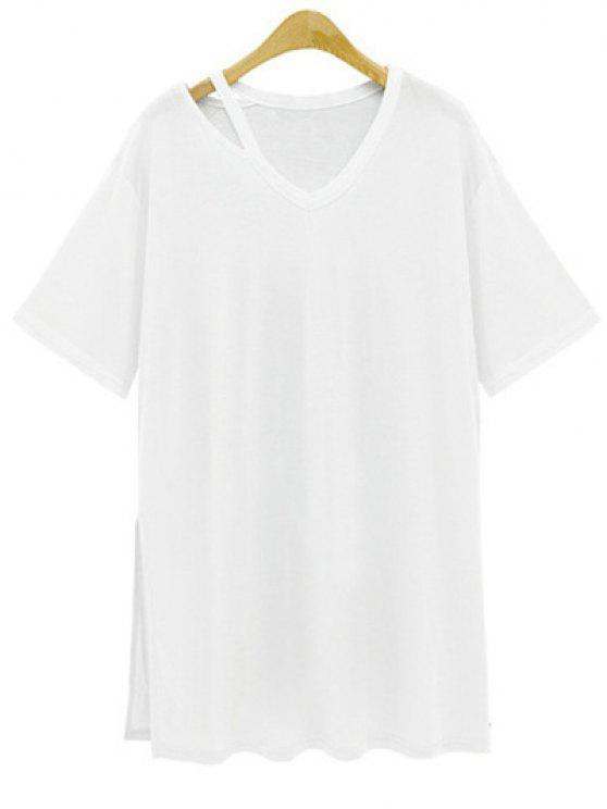 fashion Loose Side Slit V Neck Short Sleeve T-Shirt - WHITE L