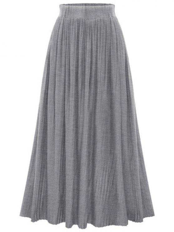 outfits Pure Color High Waist Pleated Skirt - GRAY ONE SIZE(FIT SIZE XS TO M)