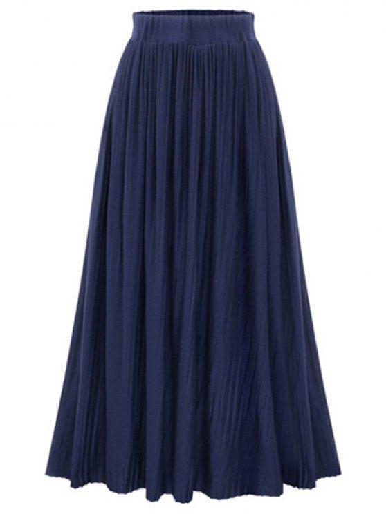 shops Pure Color High Waist Pleated Skirt - DEEP BLUE ONE SIZE(FIT SIZE XS TO M)