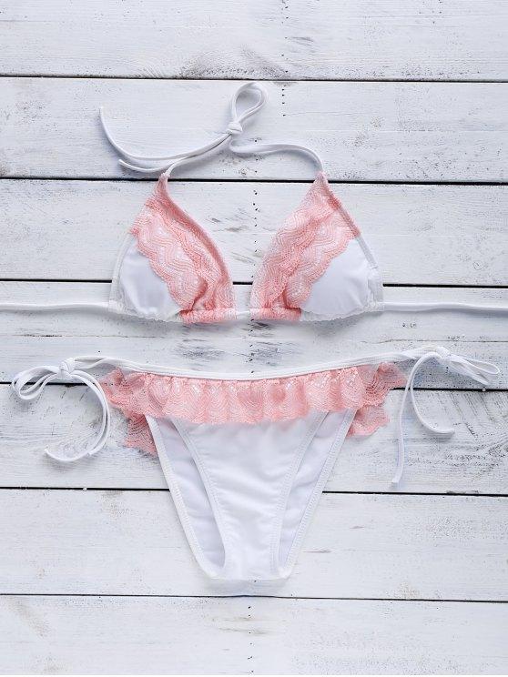 Conjunto de Biquíni Branco Com Renda Rosa Top Cortininha e Tanga Com Amarração - Cor Mistura S