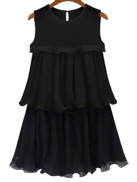 Black Flounce Ruffles Round Neck Sleeveless Dress - Preto 5XL