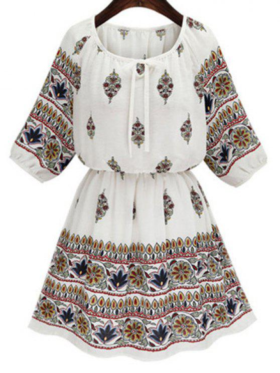 affordable Drawstring Printed Round Neck 3/4 Sleeve Dress - WHITE M