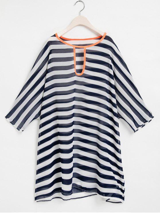 lady Striped Keyhole Neckline 3/4 Sleeve Cover-Up - PURPLISH BLUE ONE SIZE(FIT SIZE XS TO M)