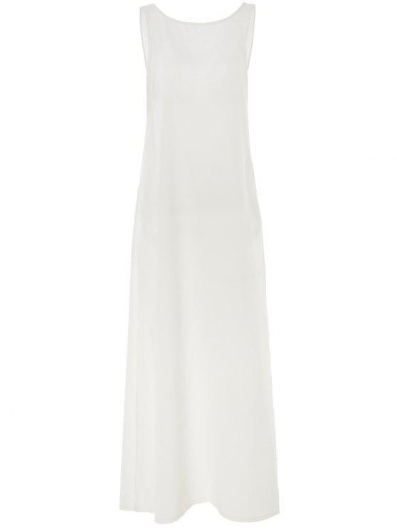 hot White Round Neck Backless Cover-Up - WHITE ONE SIZE(FIT SIZE XS TO M)