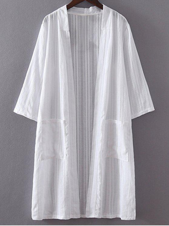 ladies White Pocket 3/4 Sleeve Trench Coat - WHITE XL