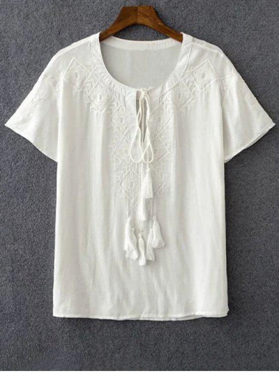 online Embroidery White Round Neck Short Sleeve T-Shirt - WHITE L