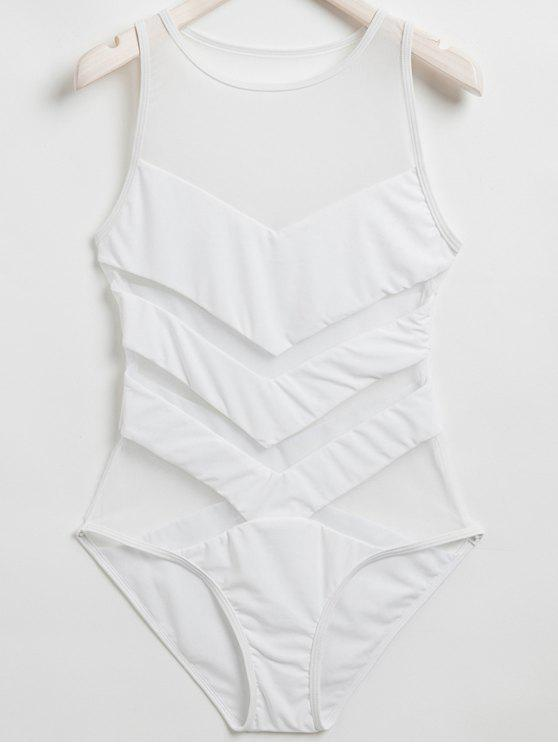 unique Sheer Mesh Panel One Piece Swimwear - WHITE S