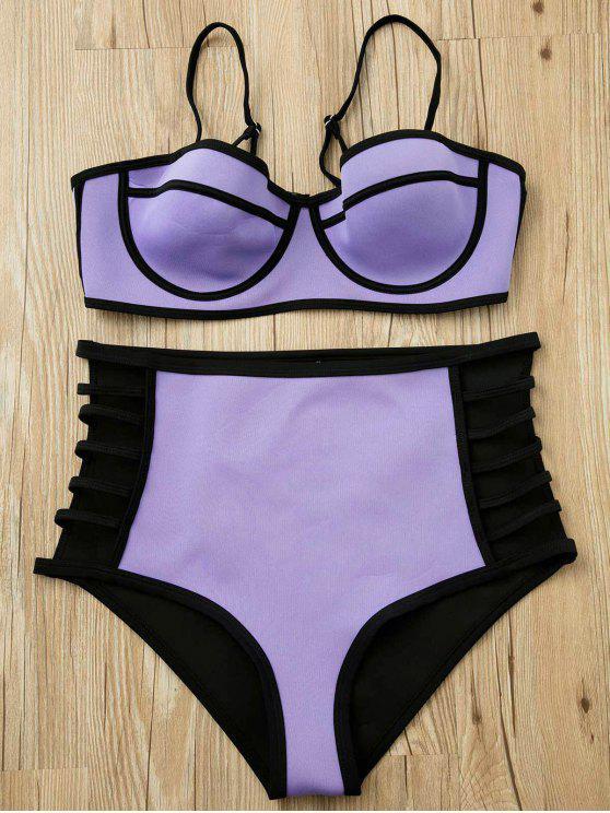 Púrpura Cami talle alto Bikini Set - Púrpura XL