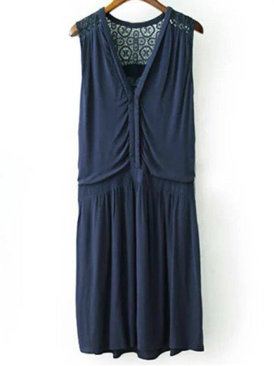 buy Lace Splice Plunging Neck Sleeveless Dress - CADETBLUE M