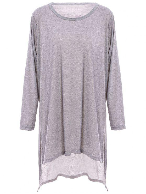 Solide Couleur Side Slit ample T-shirt - Gris 2XL