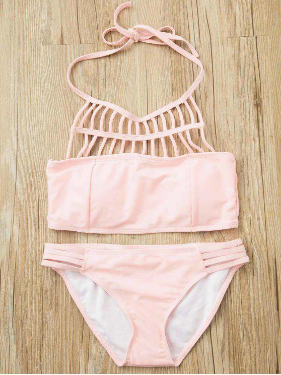 sale Pink Halter Hollow Out Bathing Suit - PINK L